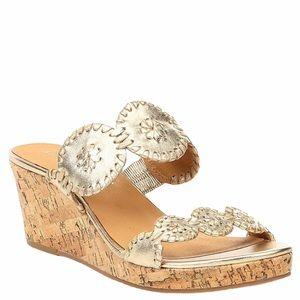 Jack Rogers Gold Lauren Mid Heel Cork Wedge Sandal
